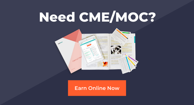need cme or moc? earn online now on a dark blue background