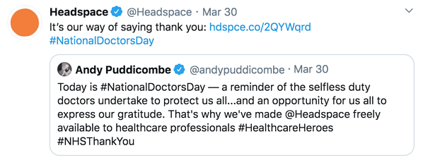 Headspace tweet offering free Headspace Plus for healthcare workers in public health