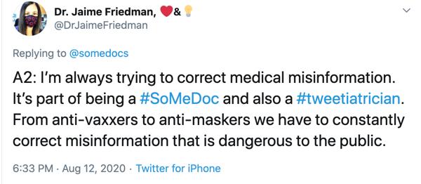 tweet from Dr. Jaime Friedman on Twitter.