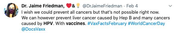 Tweet from Dr. Jaime Friedman