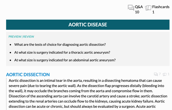 Screenshot of the 19th edition digital Core on aortic disease