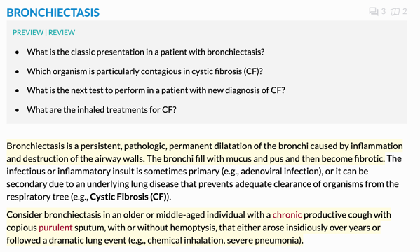 Screenshot from the digital core about bronchiectasis showing the preview review section and the highlighted areas