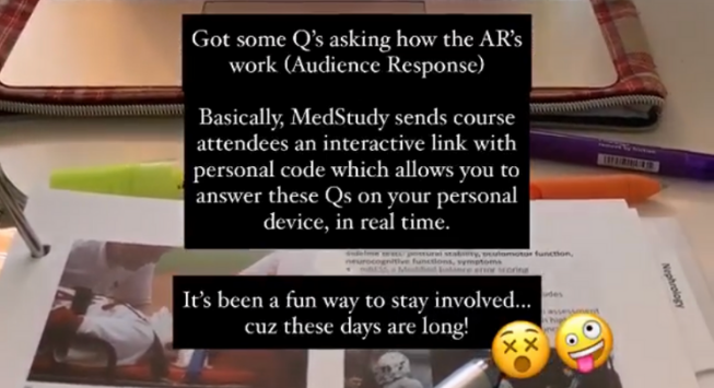 doctor shannon's instagram story while taking the course