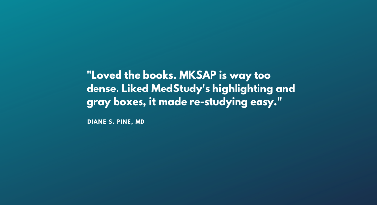 MedStudy versus MKSAP review quote from MedStudy customer