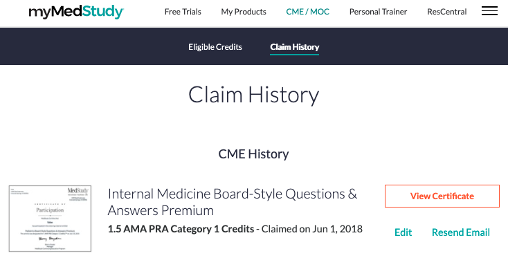 mymedstudy page under claim history and cme and moc